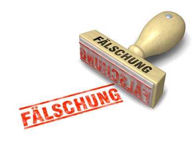 Eine Stempel mit der Beschriftung 'Fälschung'